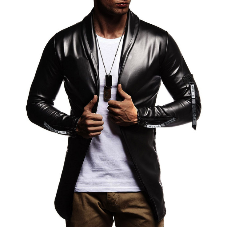 Hot Sale Night Club Leather Jacket Men New Fashion Slim Fit Motorcycle Leather Jacket Golden/Silver Blazer Jacket Male PU Coat
