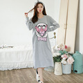 2016 Autumn New Simple Cartoon Women Cotton Nightwear Long Sleeved Sleepdress Plus Size Loose Nightgowns High Quality