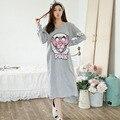 2016 Outono Nova E Simples Dos Desenhos Animados Sleepdress Mulheres Pijamas De Algodão de Manga Comprida Plus Size Solto Camisolas de Alta Qualidade