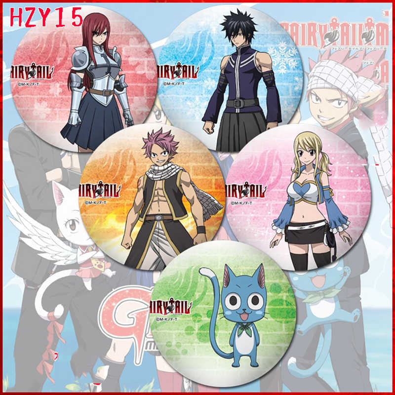 ZXFJXR 58MM Fairy Tail Lucy Heartfilia Dragneel Erza Cool Animation Badge Pins Broochs Icons Backpack