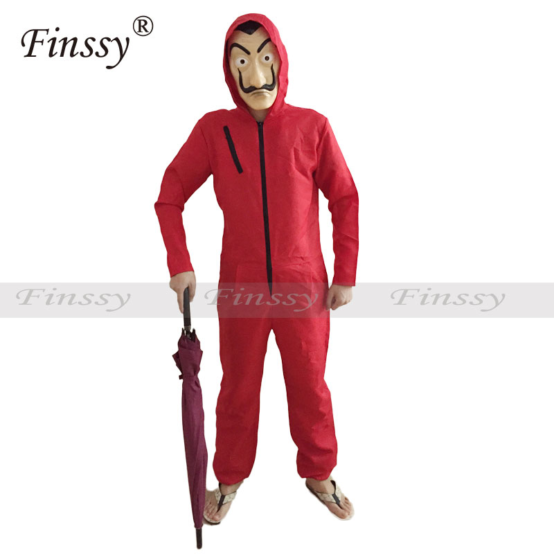 Red zipper coverall Clothing Movies La Casa De Papel Salvador Dali Cosplay Long Sleeve Adult Child Clothing