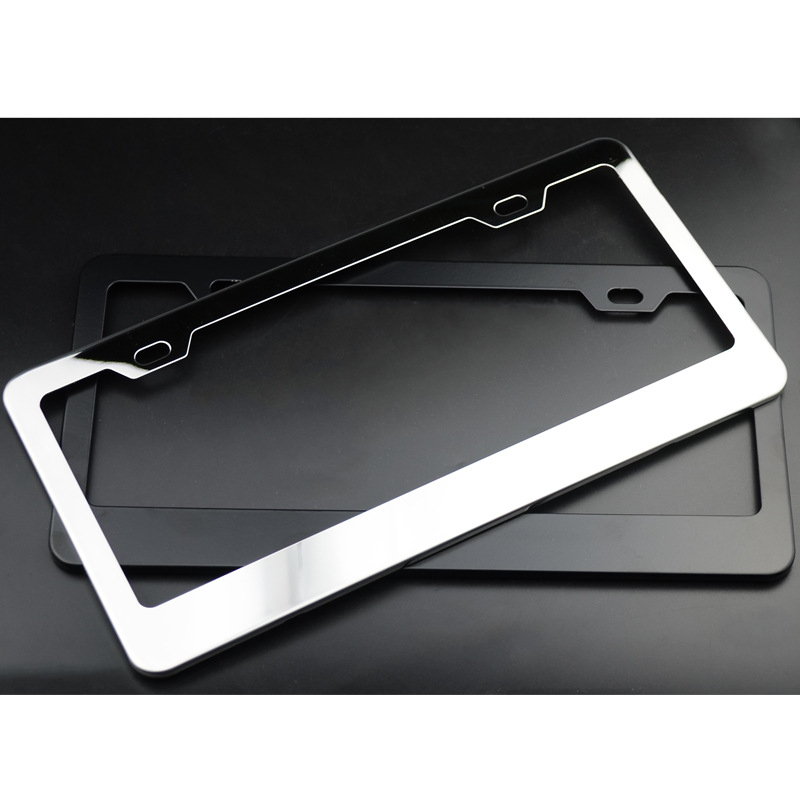 2pcs Silver//Black Stainless Steel License Plate Frame Cover with Screw Package