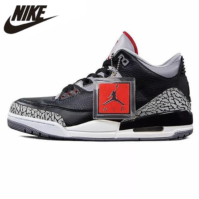 b7876e985fbd2f Nike Air Jordan 3 Black Cement AJ3 Men  s Basketball Shoes Burst Sneakers  Sport Shoes
