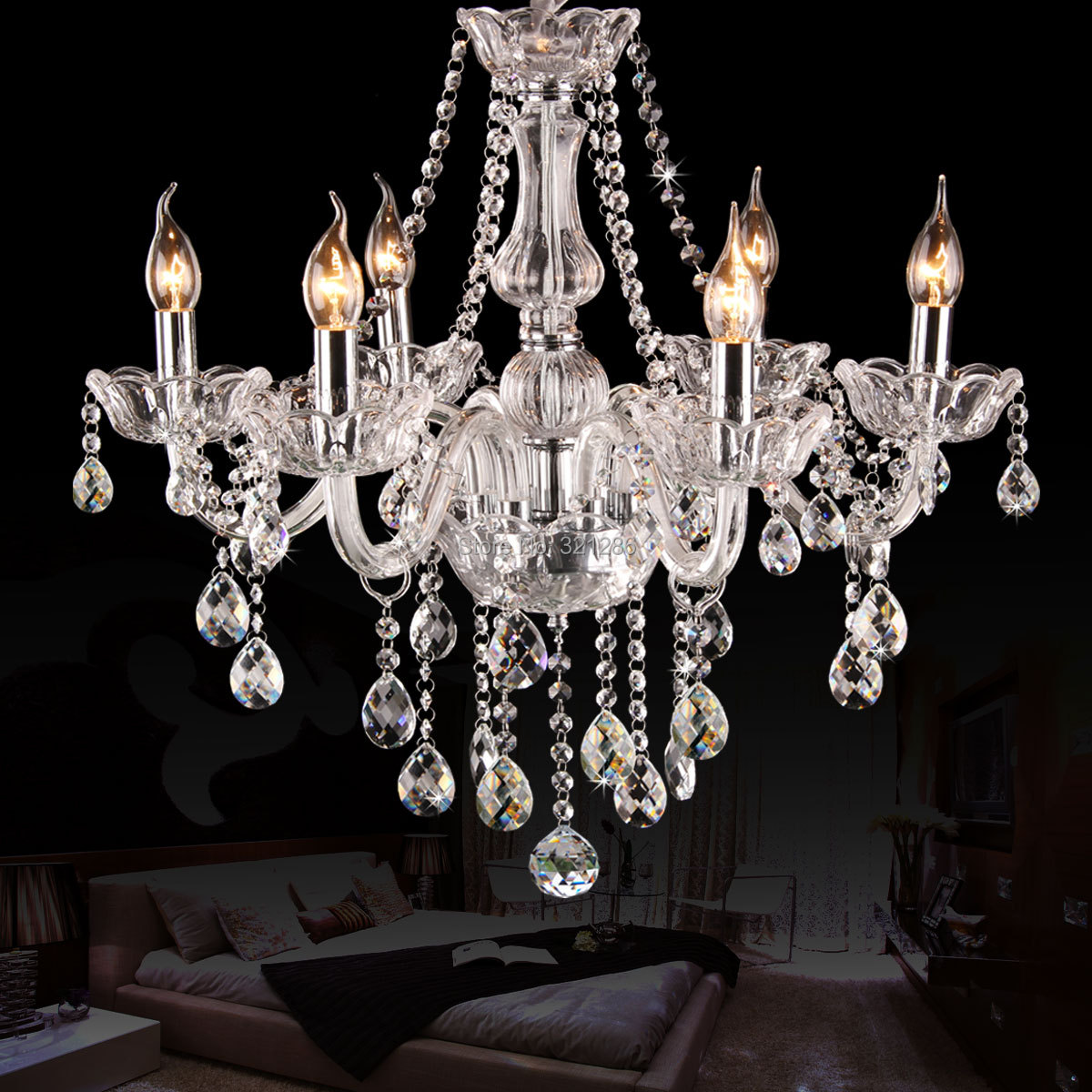 6 arms K9 crystal chandelier European Candle Crystal Chandeliers Bedroom Living Room Modern chandelier