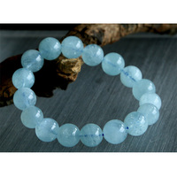Free shipping Wholesale Natural Genuine Blue Aquamarine Stretch Bracelet Round Beads 6 14mm Beryl Bracelets Fit Jewelry 02781