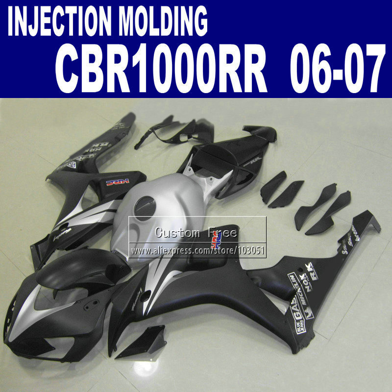 Custom Injection molding fairings set for CBR 1000 RR 2006 2007 CBR1000RR 06 07 CBR 1000RR black silver HRC body fairing part