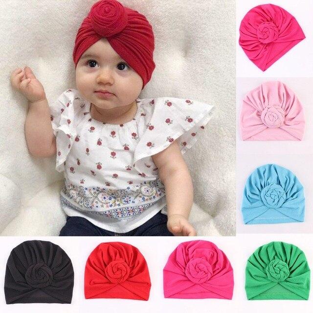 a2ad7f8ba6fd Puseky Bambin Enfants Bébé Coton Doux Turban Noeud Chapeau Bonbons Couleur  Extensible Bouchon Bohème Bébé Chapeau
