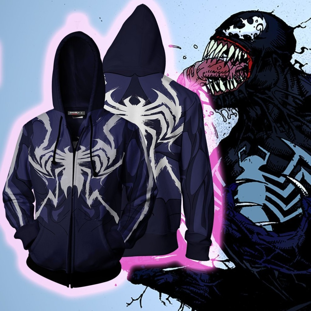 Dark PS4 Spider-man Costume Hoodies Spider Man Cosplay Men Venom 3D Printed Zipper Hooded Sweatshirt Casual Jackets