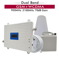 70dB Gain 2G 3G Dual Band Signal Booster GSM 900 UMTS WCDMA 2100 mhz Cell Phone Signal Repeater Cellular Mobile Signal Amplifier