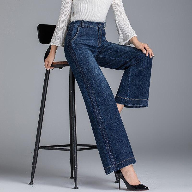 Pour Haute Lâche Grande Jean Boyfriend Lavé Bleu See Femmes 2019 Denim Taille Printemps Été Chart Les Droit Dames Coton Femme wttq6Xv