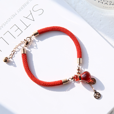 YUN RUO 2018 New Arrival Lucky Money Bag Red Bracelet Fashion Elegant Woman Gift Rose Gold Color Titanium Steel Jewelry Not Fade