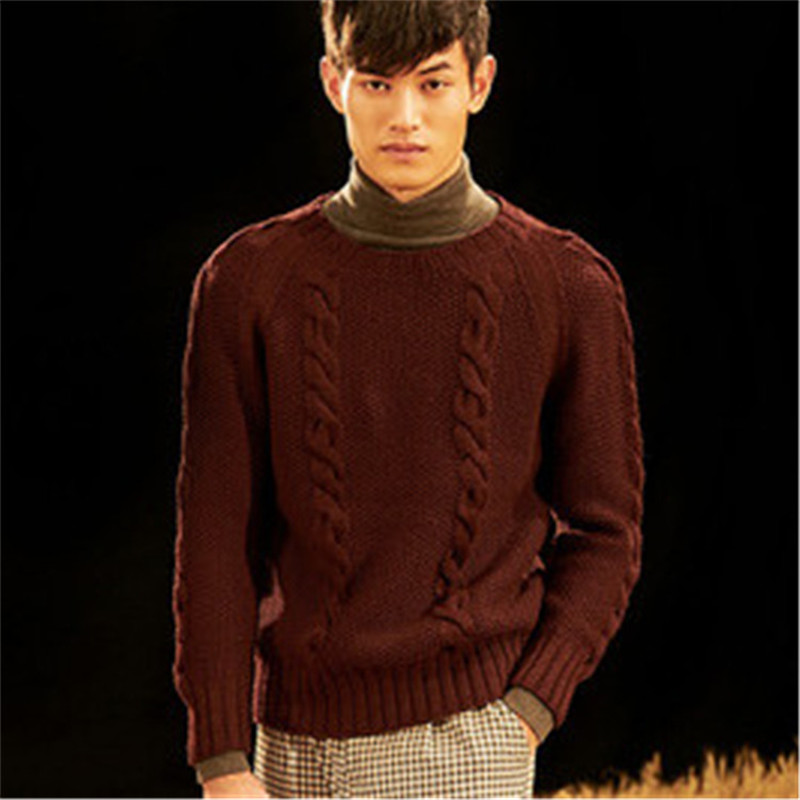New Arrival 100% Hand Made Pure Wool Knit Men Fashion Solid Oneck H-straight Pullover Sweater One&over Size