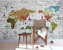 beibehang Retro fashionable personality wall paper nostalgic Mediterranean map brick painted European TV backdrop 3d wallpaper