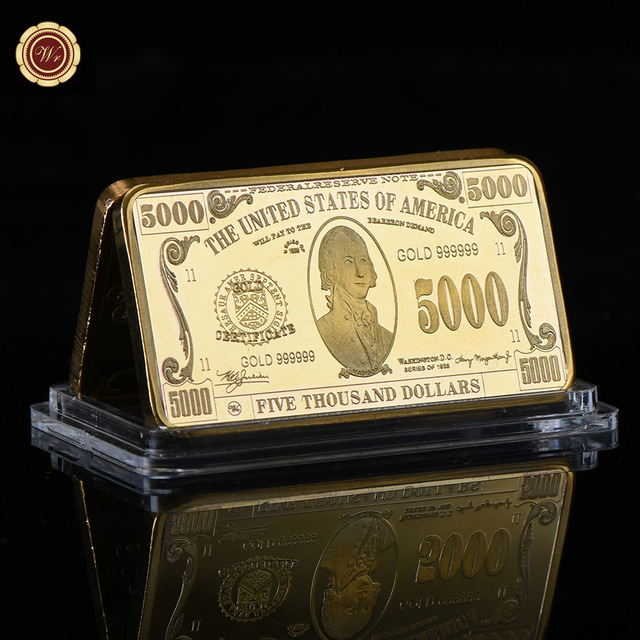 WR American USD 5000 24k Gold Plated Fake Money Bar Home Decorative Bars Metal