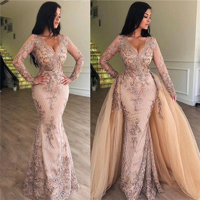 New Design Elegant V-Neck   Evening     Dress   2019 V-Neck Long Sleeves Floor Length beading Chiffon Formal   Dress   abiye Robe de soriee