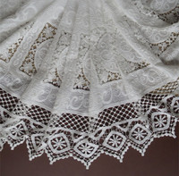 Bilateral Symmetry Off White Cotton Openwork Embroidery Lace Fabric Skin Friendly Soft Summer Dress Lace Fabric