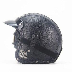 Image 2 - Dorosłych skórzane kaski 3/4 kask motocyklowy wysokiej jakości rower chopper kask otwarta twarz rocznika motocros