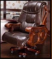 Роскошный Твердый деревянный стул Офисное Кресло компьютерное кресло может лежать массаж кожи босс стул ..