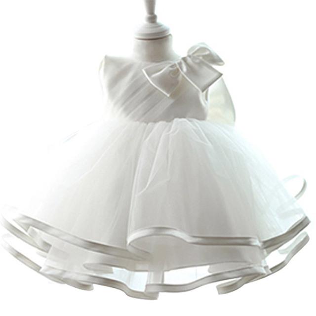 Sólido Blanco Muchacha Del Niño Ropa De Bebé 1 Año la Fiesta de Cumpleaños Vestido Formal Del Vestido de Tulle de Las Muchachas Vestidos de Los Niños Tutú