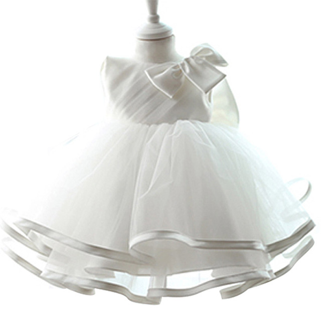 Solid White Toddler Girl Clothes For Baby 1 Year Birthday Party Dress Formal Tulle Girls Kids Tutu Dresses