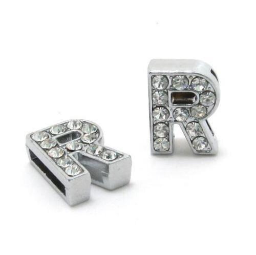 A-Z, 8 мм, стразы, кулон, буквы, подходят для DIY, подарок, шарм, кожаный браслет, браслет, пояс, ожерелье, ювелирные аксессуары - Окраска металла: R