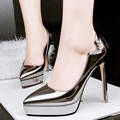 New Brand Patent Leather Pointed Toe High Heel Shoes Woman Sexy Bridal Shoe With Rhinestones Platform Formal Woman Shoes Silver