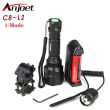 Hunting light C8 Tactical flashlight XM-L L2 led 1-mode  torch+18650 battery+Charger+Pressure Switch Mount Rifle Gun Light Lamp c8 tactical hunting flashlight xml t6 led airsoft weapons light rifle scope torch scout gun lamp mount switch 18650 usb charger