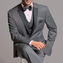 Gray Wedding Groomsmen Tuxedos for Men Prom Party Black Notched Lapel 3 Piece Formal Business Mens Suits Set Jacket Pants Vest new arrival black wedding suits for men frim fit notched lapel groomsmen suits tuxedos two buttons mens 3 piece wedding suits