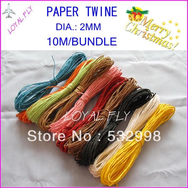 Cuerda de rafia de papel de 10 colores (10 m / paquete) 60pcs / lot, - Para fiestas y celebraciones - foto 2