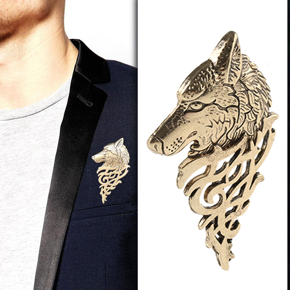 1pc Bijoux Classic Wolf Brooch For Men Vintage Punk Wolf Badge Lapel Pin Shirt Suit Collar Charm Jewelry Men Gift All-match Wear