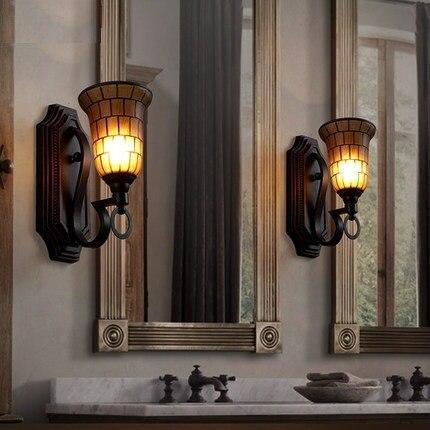 Style Loft industriel LED Applique Murale De Fer En Verre Vintage