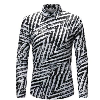Mens Fashion Luxury Shirt Casual Slim Fit Zebra Stripes Print