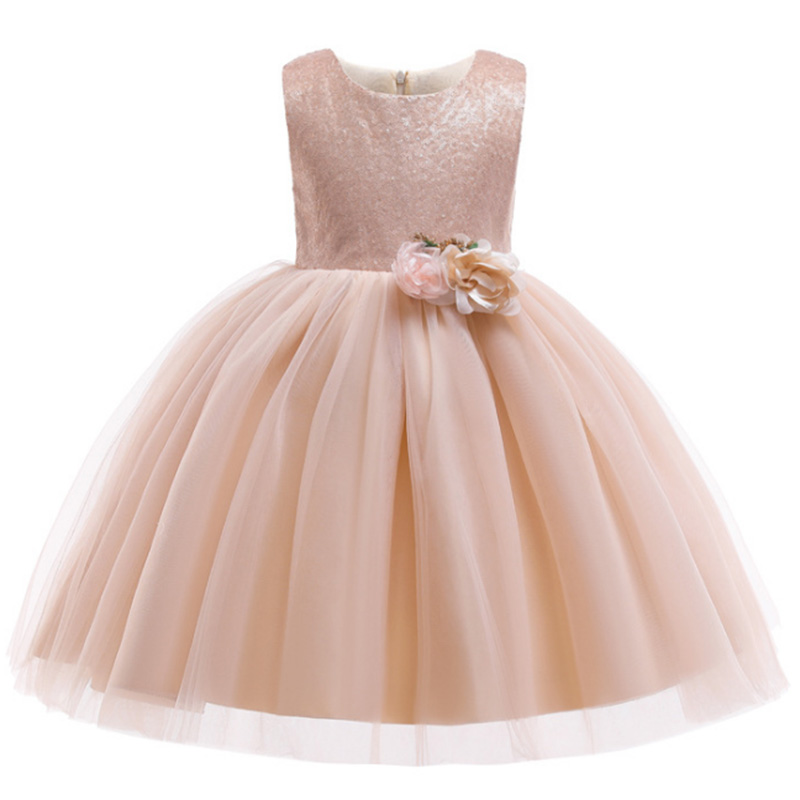 Christmas Sequined Mesh Ball Gown Girls Baby Costume  First Communion Dress Ball Gown Kids Pageant Clothes Children's Clothing