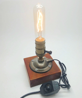 Industrial Retro Vintage Edison Table Lamp Knob Dimmer Double Switch E27 110V 220V Wood Desk Lamp