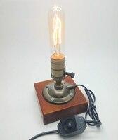 الصناعي الرجعية خمر اديسون مصباح طاولة مقبض/ديمر مزدوج التبديل 110 فولت/220 فولت الخشب مكتب مصباح مع 40 واط لمبة المتوهجة