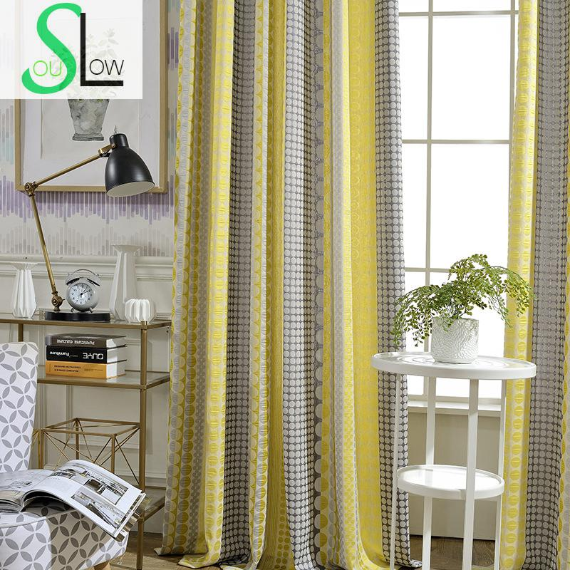 Slow Soul Yellow Blue Orange Cotton Linen Curtain Jacquard