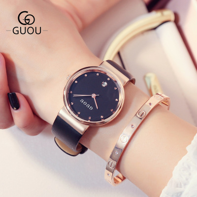 GUOU 2018 New Brand Elegant ladies watches fashion Watch Women waterproof Clock Female Leather Quartz Wrist Watch Montre Femme цена