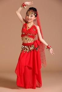 Image 5 - 5pcs 1set Girls Belly Dance Costumes Kids Belly Dancing Girls Bollywood Indian Performance Dancewear Children Oriental Dance