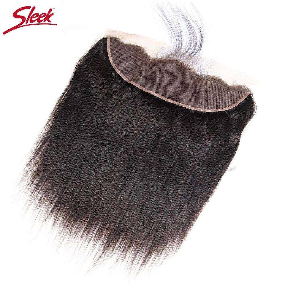 Sleek Бразильский прямые волосы 13x4 кружева Фронтальная застежка с волосами младенца 100% человеческих волос натуральный Цвет Бесплатная часть ...