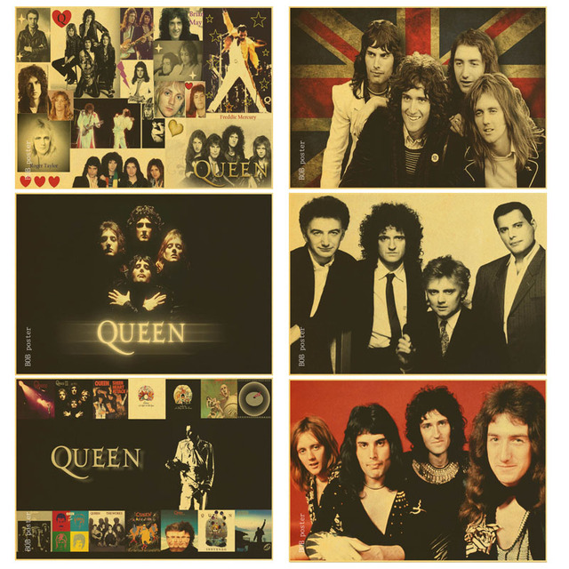Retro poster band queen poster kraft wallpaper bar room decor drawing core rock music band wall