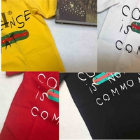 Runway Unisex Cotton Classic Summer Top 2018 New Short Sleeve Striped Print Letters Chic Casual Oversized