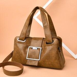 Image 3 - 女性革ハンドバッグヴィンテージソフトレザー女性クロスボディショルダーバッグデザイナーブランドレディース高容量トップハンドルバッグ