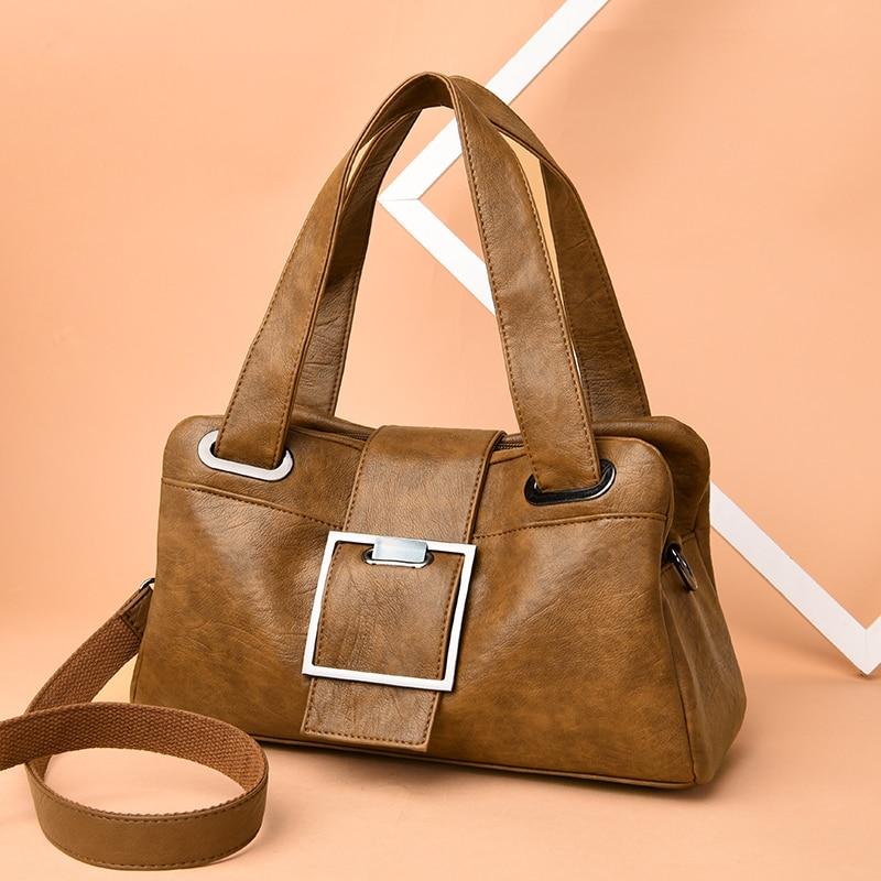 Image 3 - Women Leather Handbags Vintage Soft Leather Female Crossbody Shoulder Bags Designer Brand Ladies High Capacity Top Handle BagsShoulder Bags   -