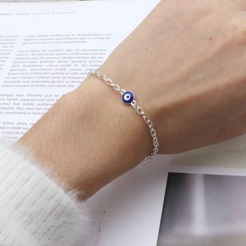 JAVRICK สีฟ้าตุรกีตาสีฟ้าป้องกันเท้าเปล่าสร้อยข้อมือเครื่องประดับ Lucky เครื่องประดับของขวัญ