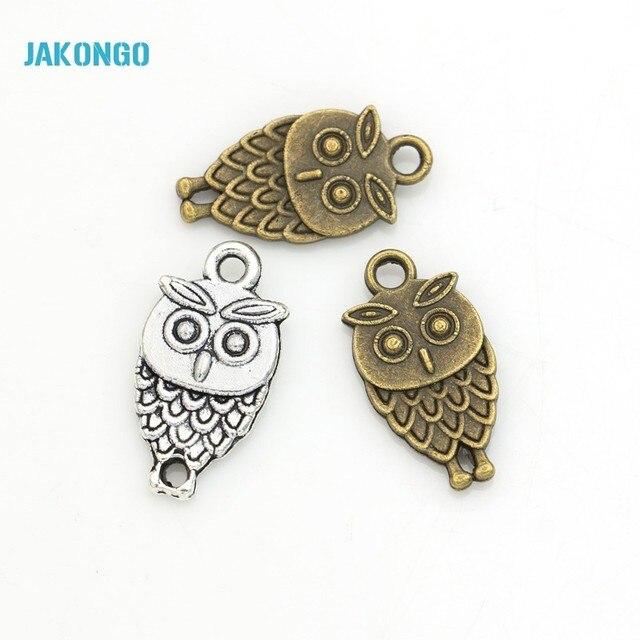 JAKONGO 20 pièces/lot Antique argent/Bronze plaqué hibou oiseaux breloques bricolage à la main pendentifs Bracelet connecteur 19*10mm