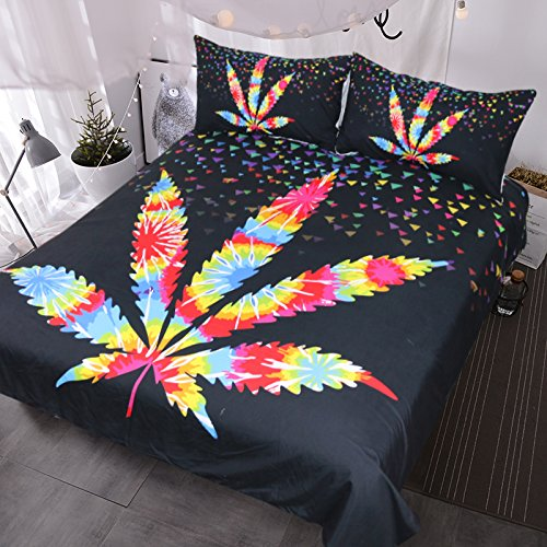 Maple Leaf Bedding, Geometric Triangle Duvet Cover, Rainbow Psychedelic Bed Set, Stunning Black Bedspread
