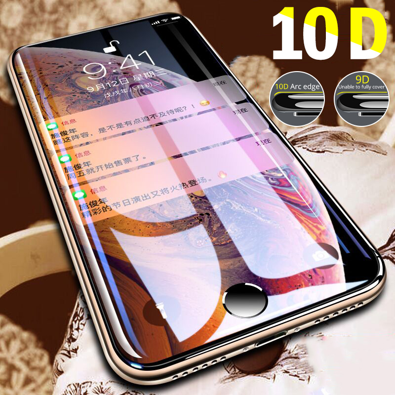 10D Protective Tempered Glass for iPhone 7 8 plus glass Screen Protector films on the i phone 11 Pro Max X iphone7 iphone8 7Plus