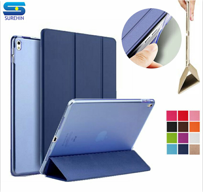 SUREHIN Good silicone tpu soft edge cover for apple iPad 2017 case 9.7 Leather sleeve thin transparent back smart cover skin surehin nice smart leather case for apple ipad pro 12 9 cover case sleeve fit 1 2g 2015 2017 year thin magnetic transparent back