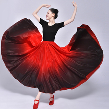Big Hem Gradient Color Silk Long Skirt Women Summer Pleated A-Line Big Circle Faldas Female Vintage Elastic Waist  Maxi Skirt недорого