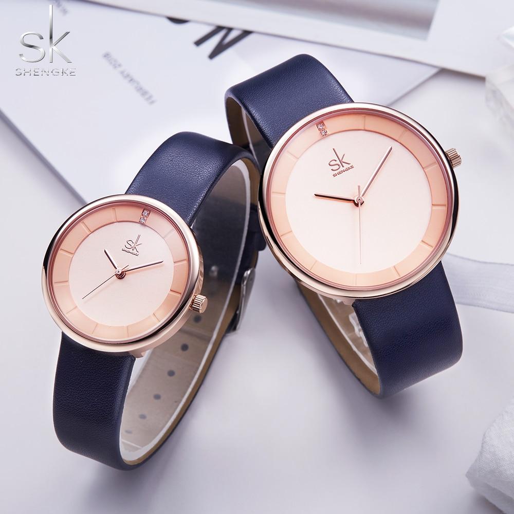 Shengke Brand Quartz Couple Watch Creative Dial Blue Leather Watches For Lovers Black Simple Women Quartz Watch Reloj Mujer